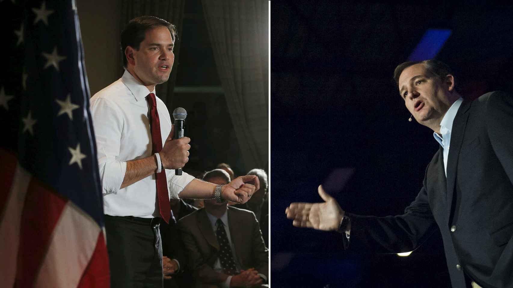 Los candidatos republicanos Marco Rubio y Ted Cruz.