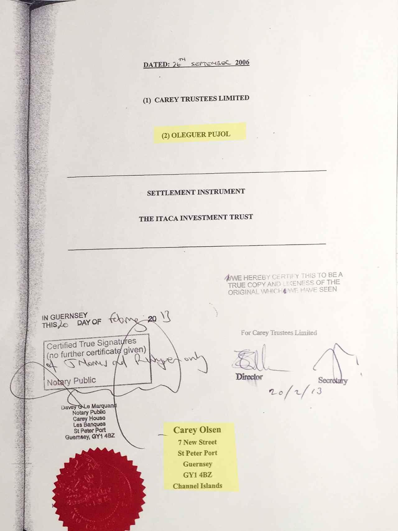 Contrato de fiducia entre Oleguer Pujol y una de las empresas de Carey Olsen