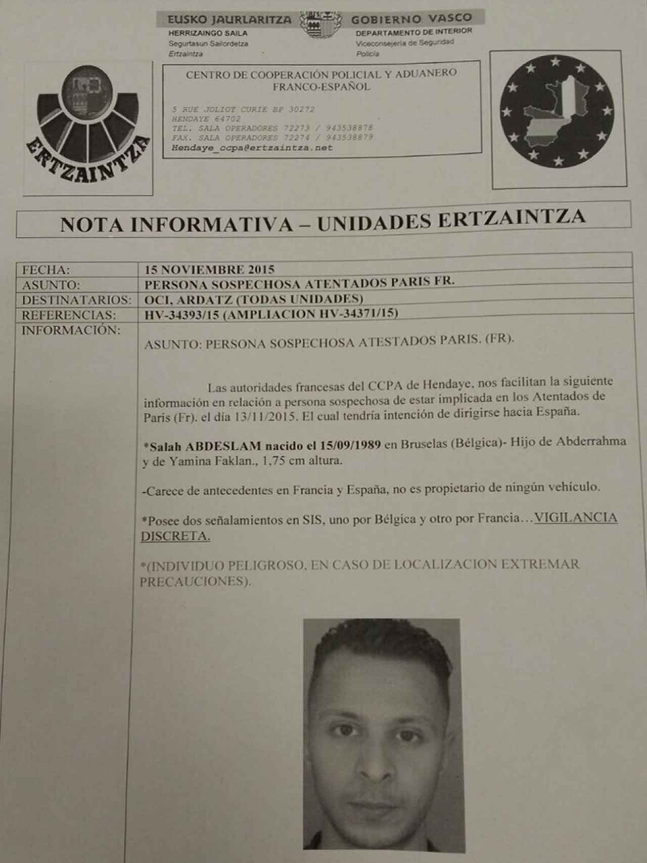 Ficha interna de la policía autonómica vasca.