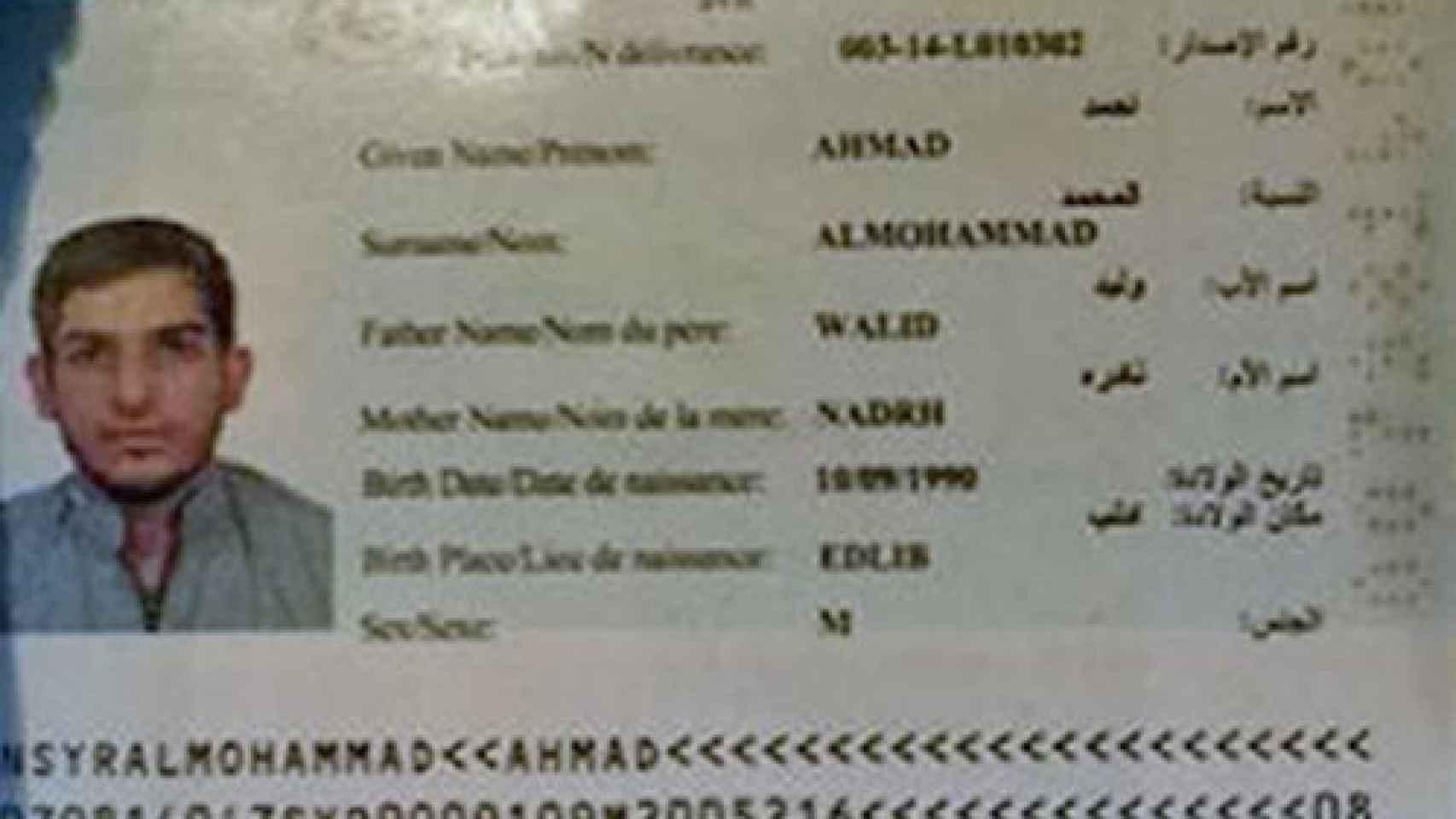Pasaporte encontrado en una de las explosiones del Stade de France