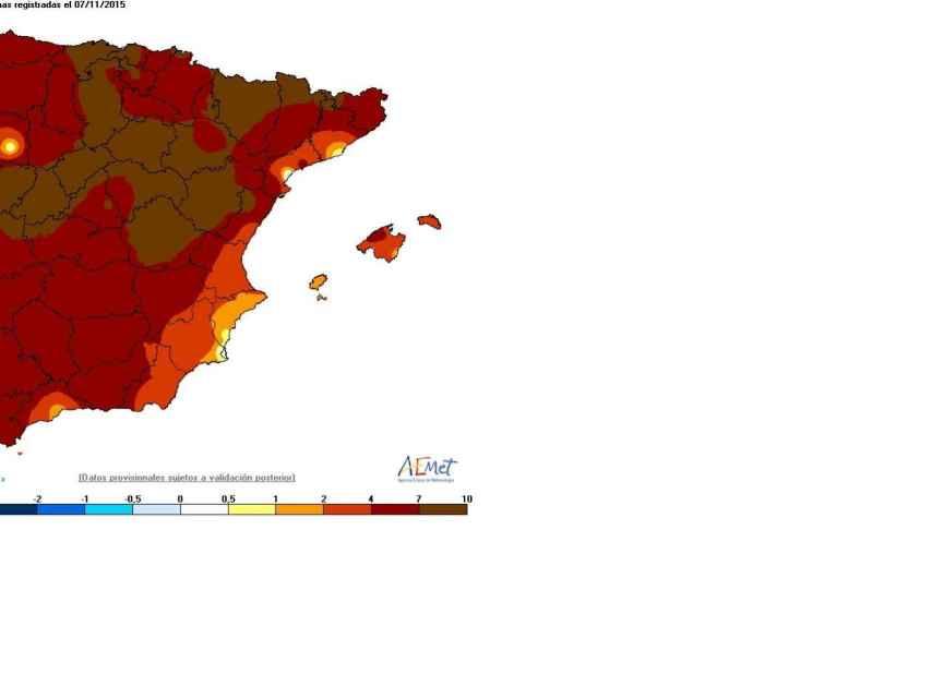 Temperaturas máximas del día 7 de noviembre de 2015.
