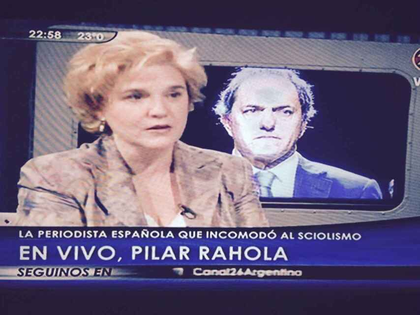 Pilar Rahola, durante una aparición televisiva en Argentina.