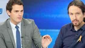 Albert Rivera y Pablo Iglesias en 'Los desayunos' (TVE)