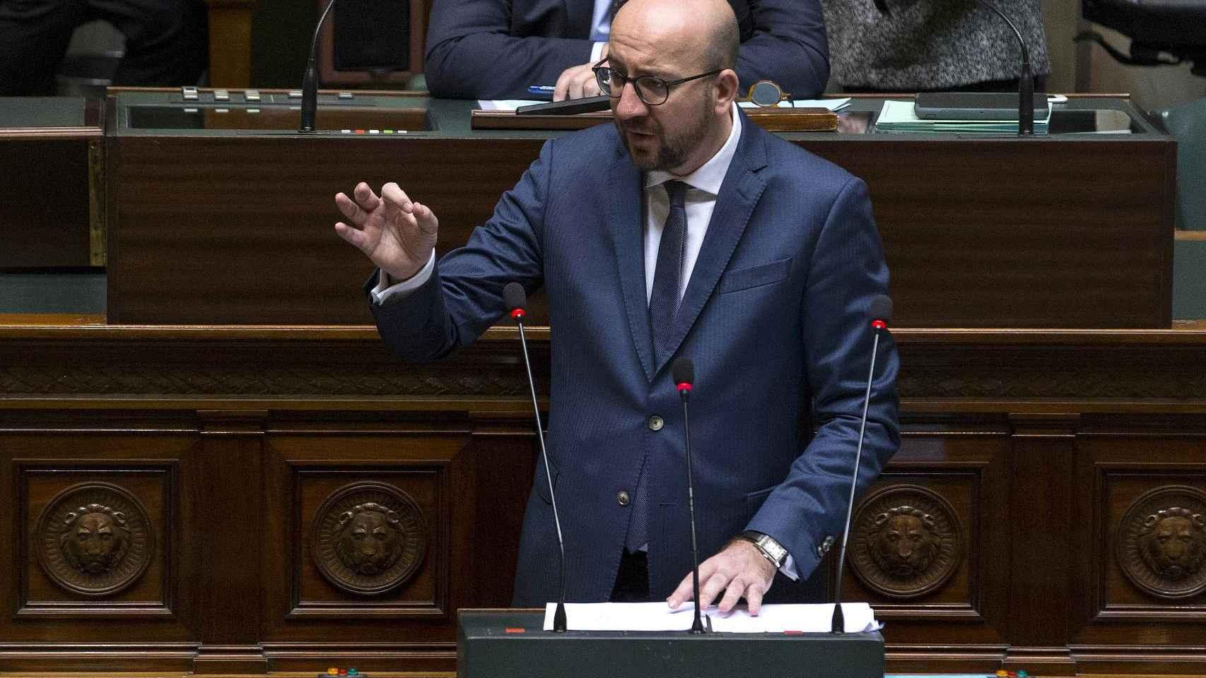 El primer ministro belga Charles Michel durante el discurso.