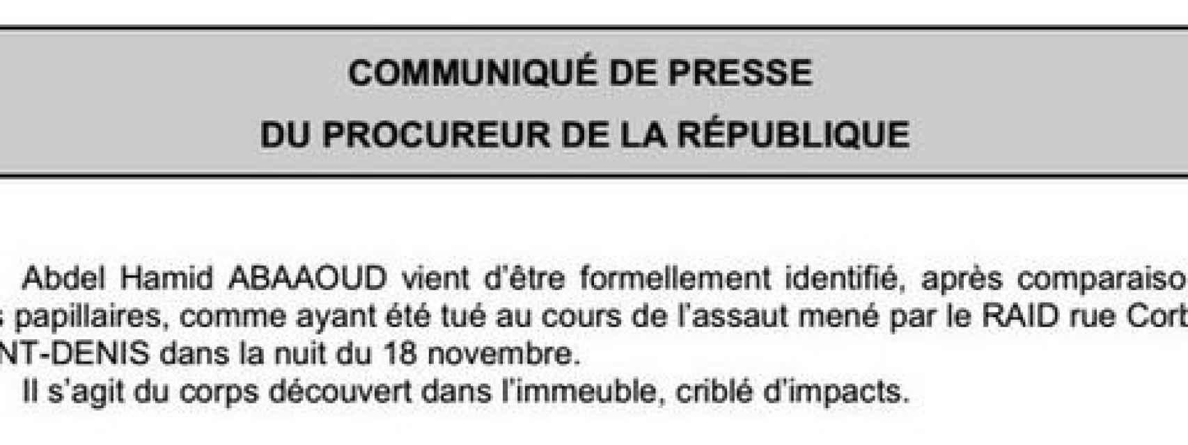 Comunicado de la Fiscalía de Francia