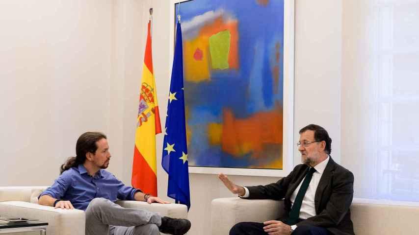 Pablo Iglesias visitó a Mariano Rajoy en Moncloa.