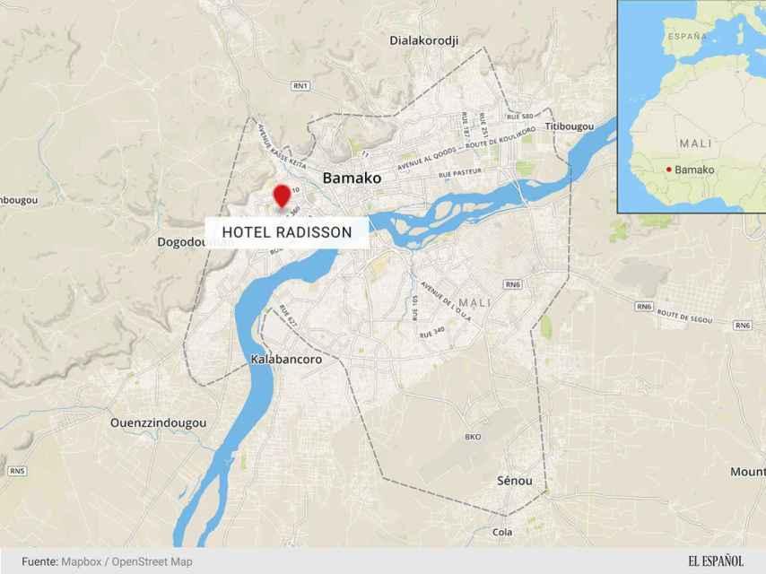 Localización del hotel asaltado.