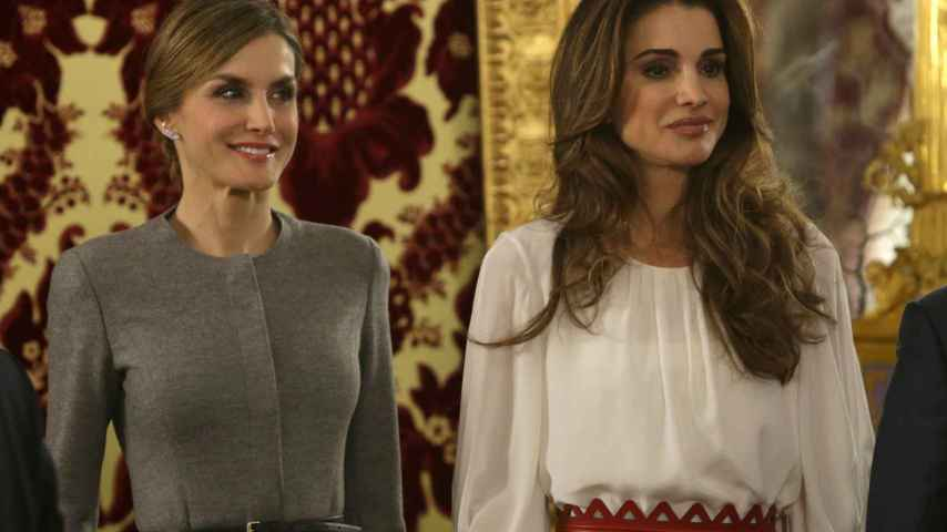 La Reina Letizia y Rania de Jordania en el Palacio de Oriente