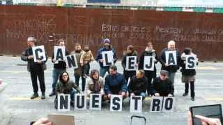 Un momento de la protesta contra la impunidad del derribo de Canalejas.