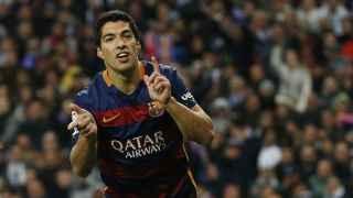 Luis Suárez celebra el gol en el Bernabéu. / Sergio Pérez / Reuters