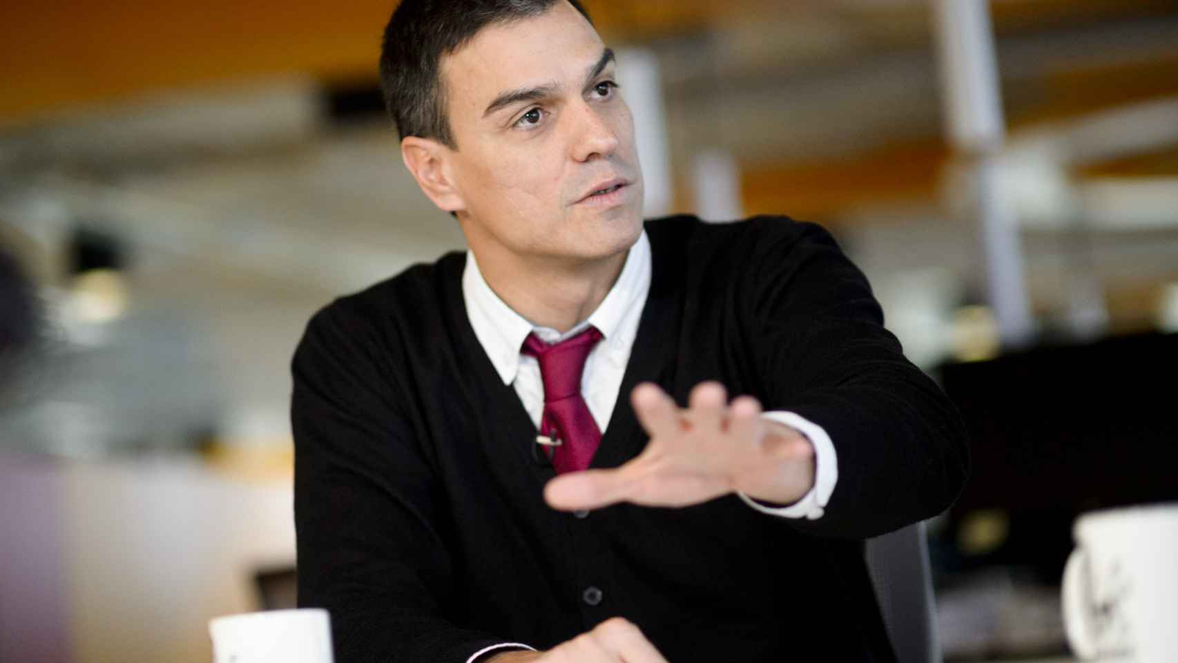 Pedro Sánchez, durante la entrevista en EL ESPAÑOL.