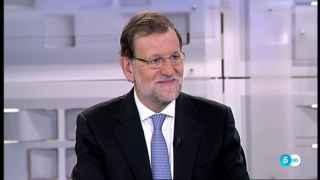 El presidente del Gobierno, Mariano Rajoy, durante la entrevista en Telecinco