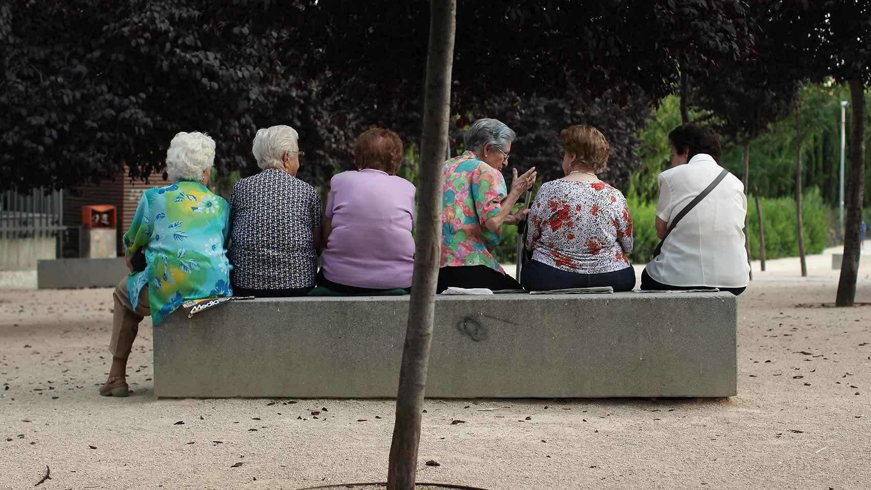Un grupo de mujeres sentadas en un parque