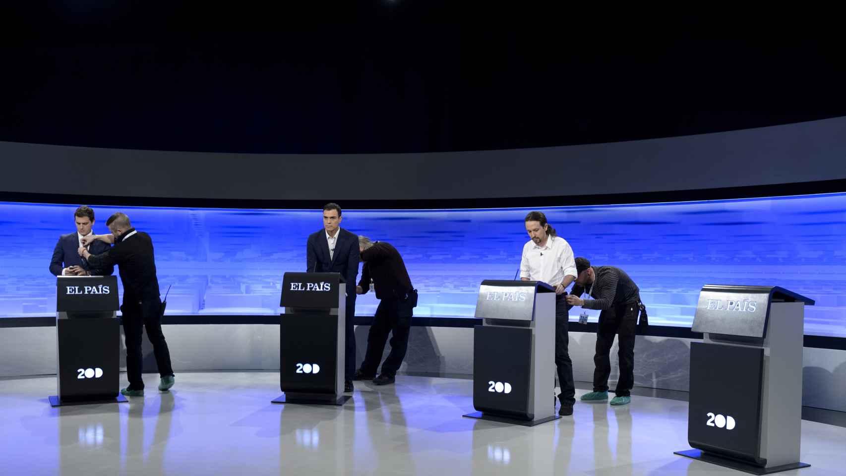 Los candidatos, antes del debate.