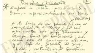 Manuscrito de Bárcenas remitido a la Audiencia Nacional.