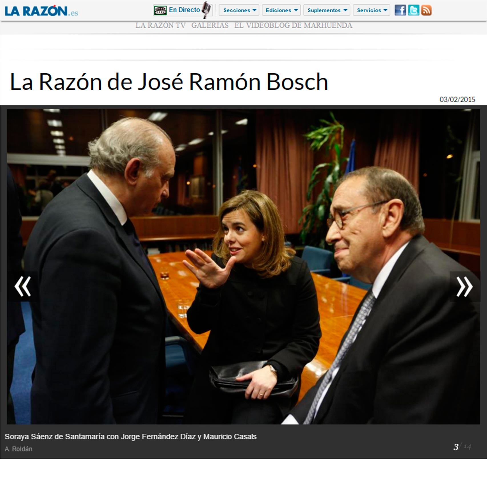 Imagen publicada en la web de La Razón, de Fernández Díaz, Casals y Saénz de Santamaría, en un acto de homenaje al entonces presidente de Sociedad Civil Catalana.
