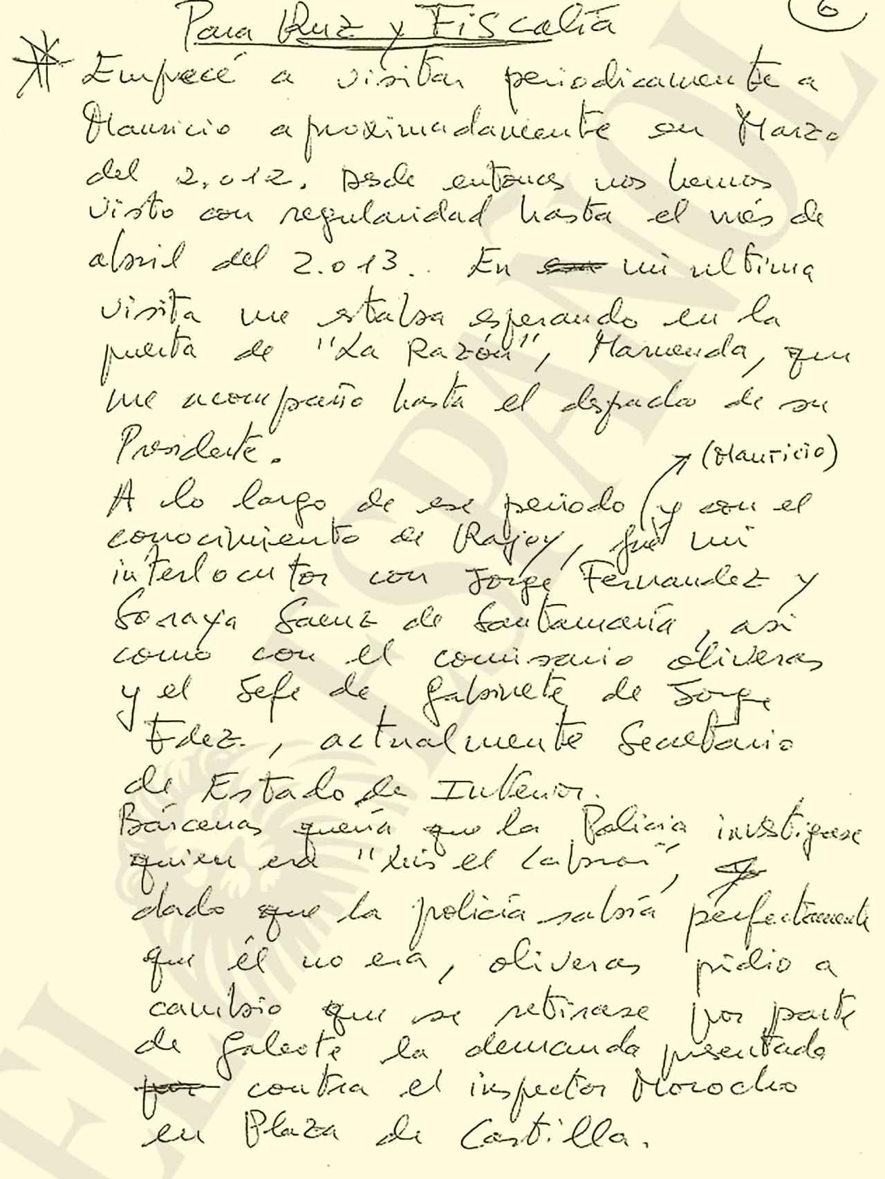 Carta manuscrita de Bárcenas a la Audiencia Nacional.