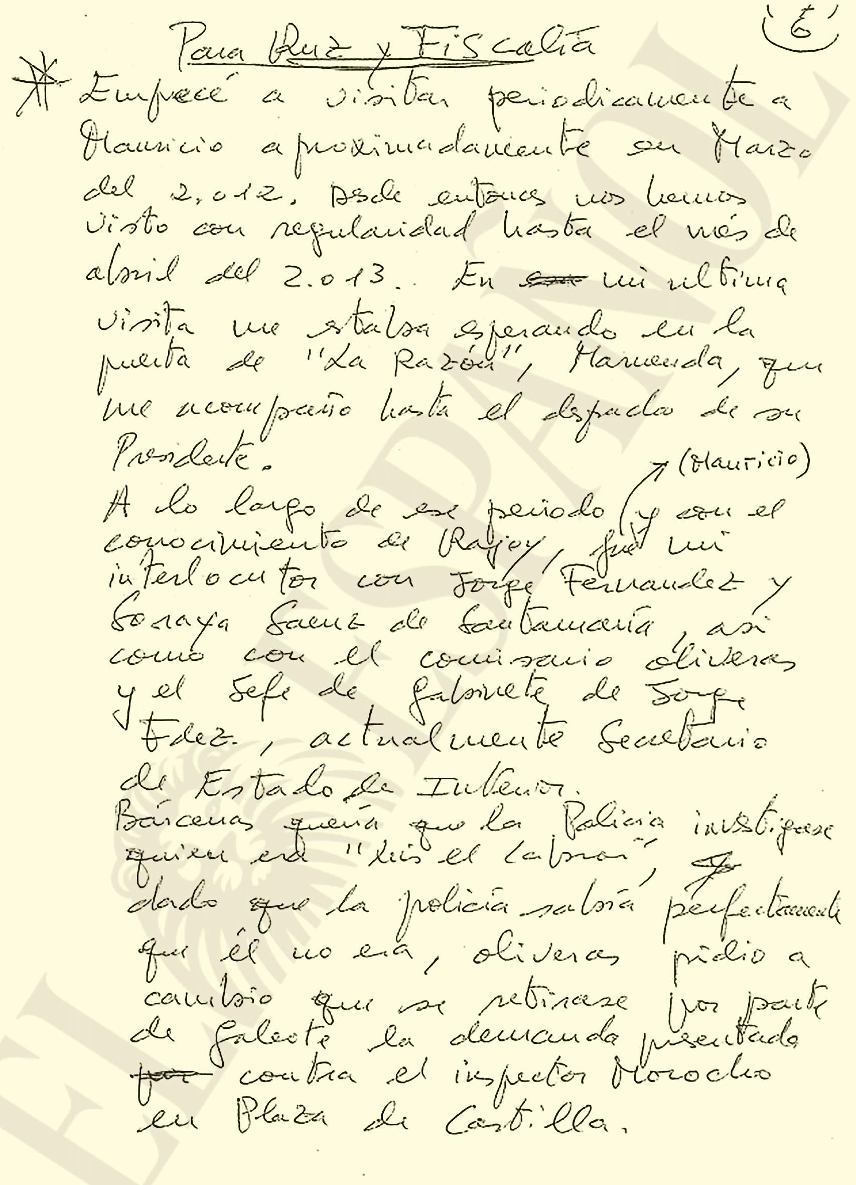 Manuscrito de Bárcenas al juez Ruz y la Fiscalía.