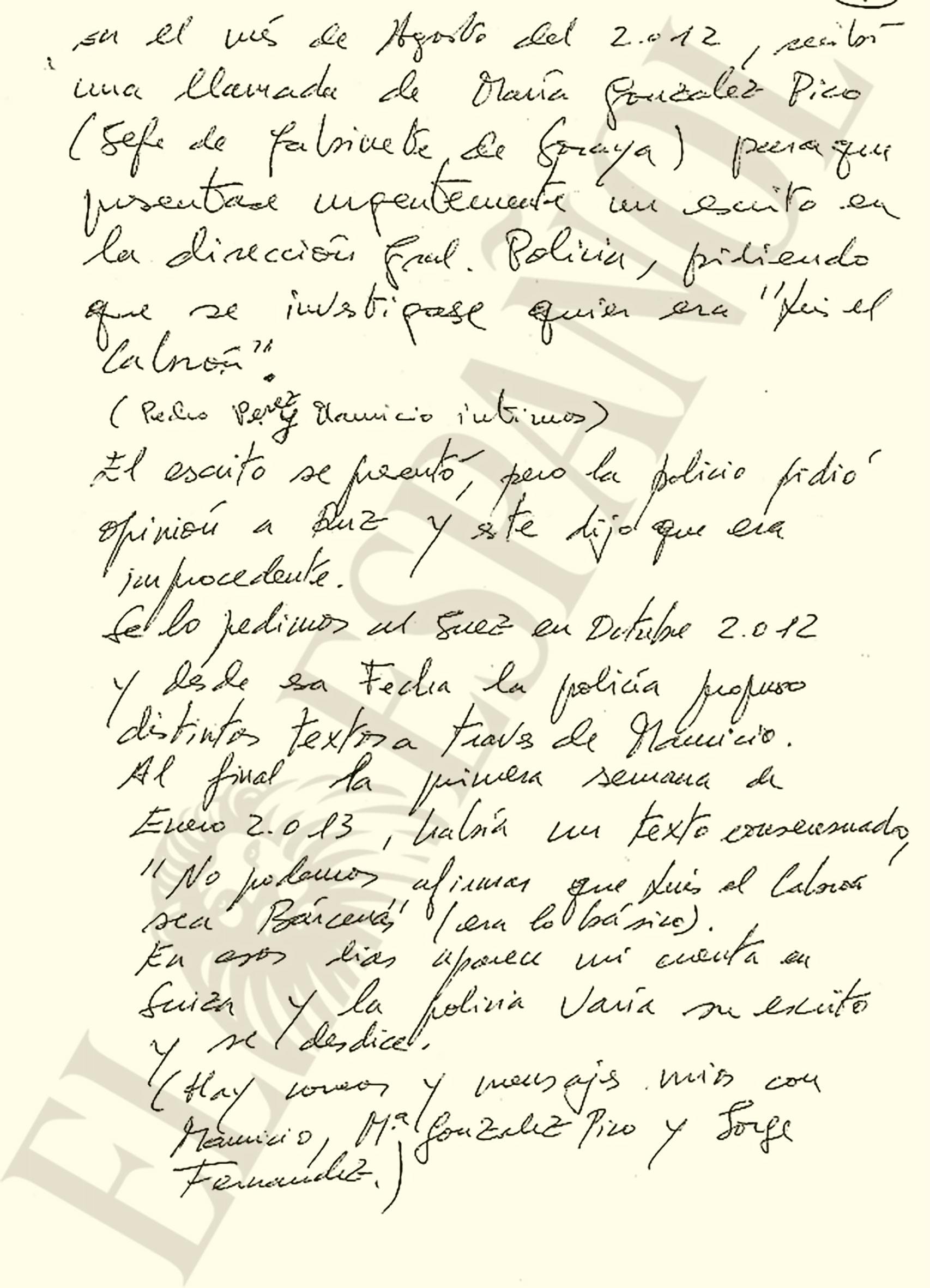 Segundo folio del manuscrito enviado por Bárcenas a la Audiencia Nacional.