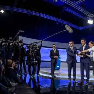 Sánchez, Rivera e Iglesias, antes de comenzar el debate.