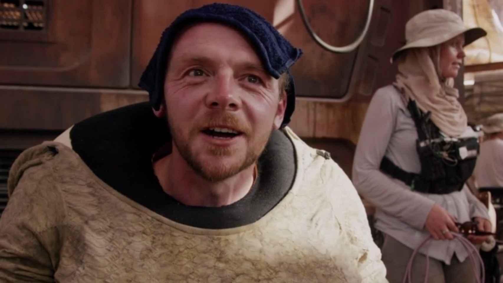 Simon Pegg, durante el rodaje de El despertar de la fuerza