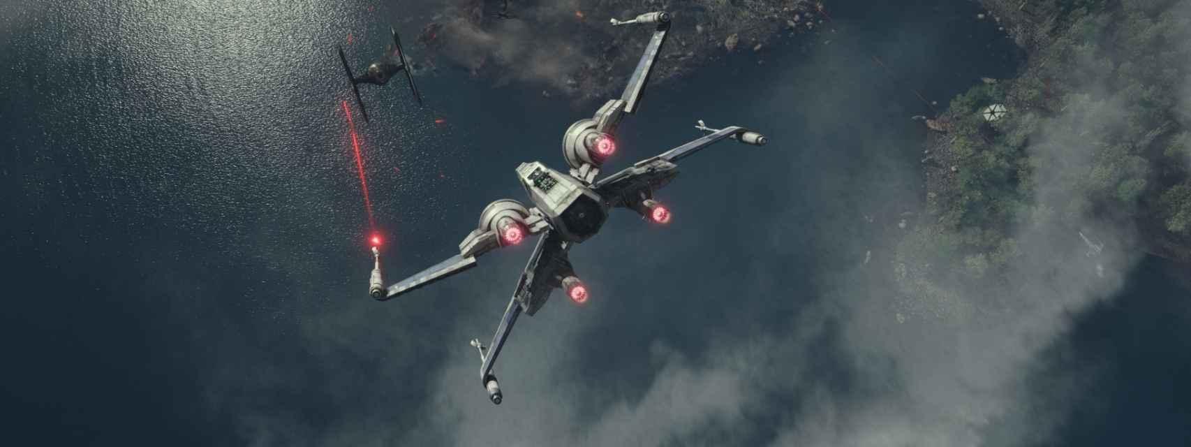 Un X-Wing se enfrenta a un Tie-Fighter imperial