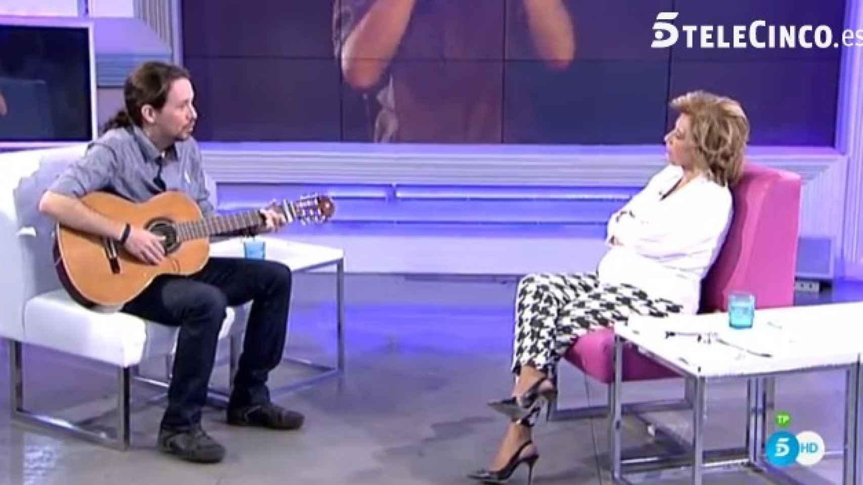 Pablo Iglesias estuvo en el plató de ¡Qué tiempo tan feliz! (Telecinco)