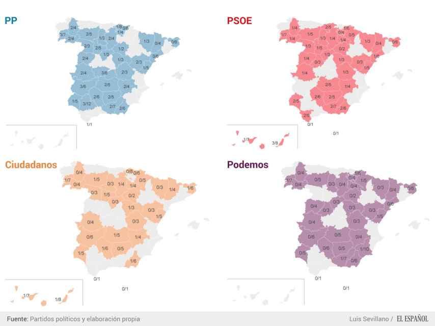 Provincias donde no irán los candidatos