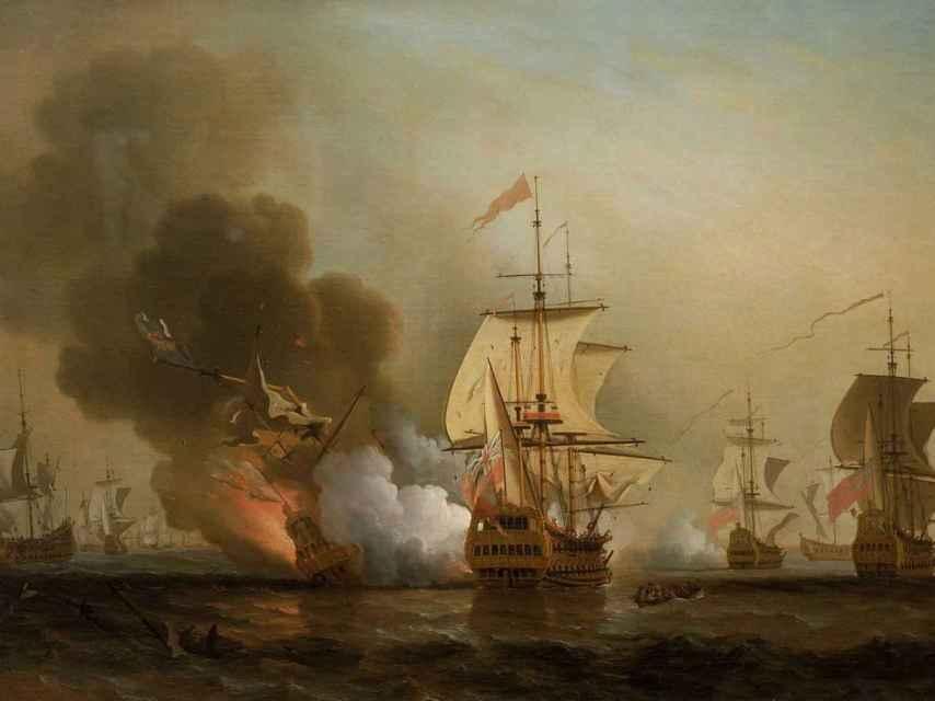 Óleo inglés que representa el ataque inglés al San José.