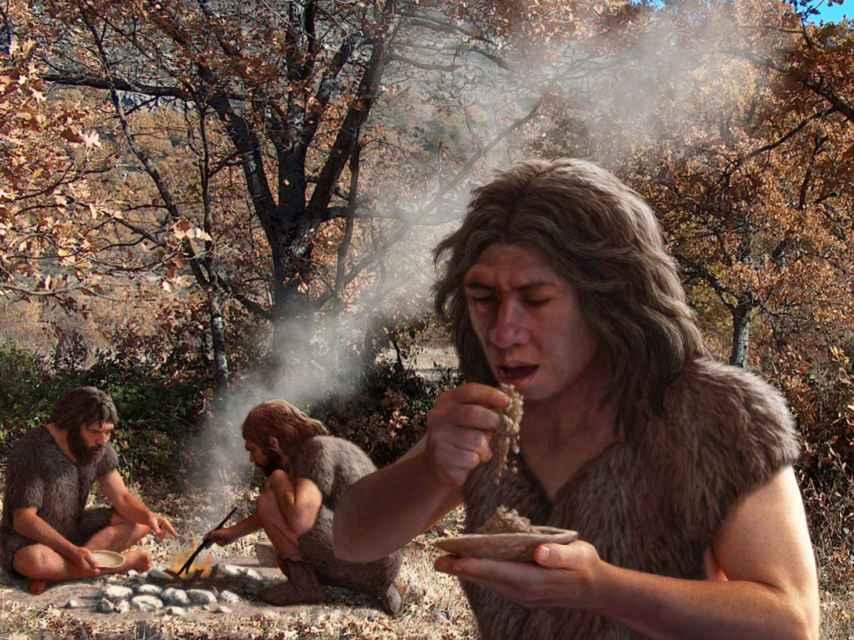 Reconstrucción de un grupo de neandertales.