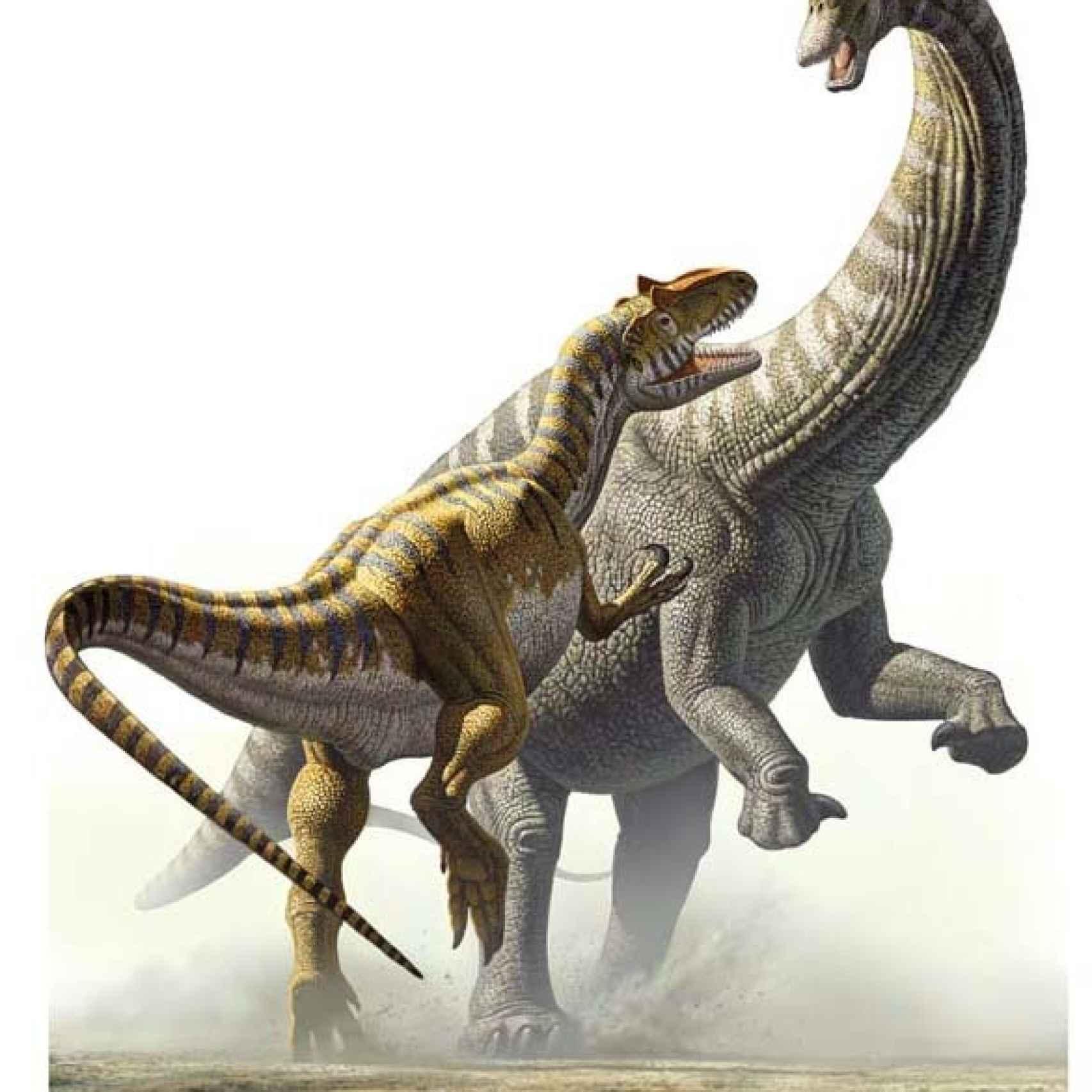 Lucha entre dos dinosaurios.