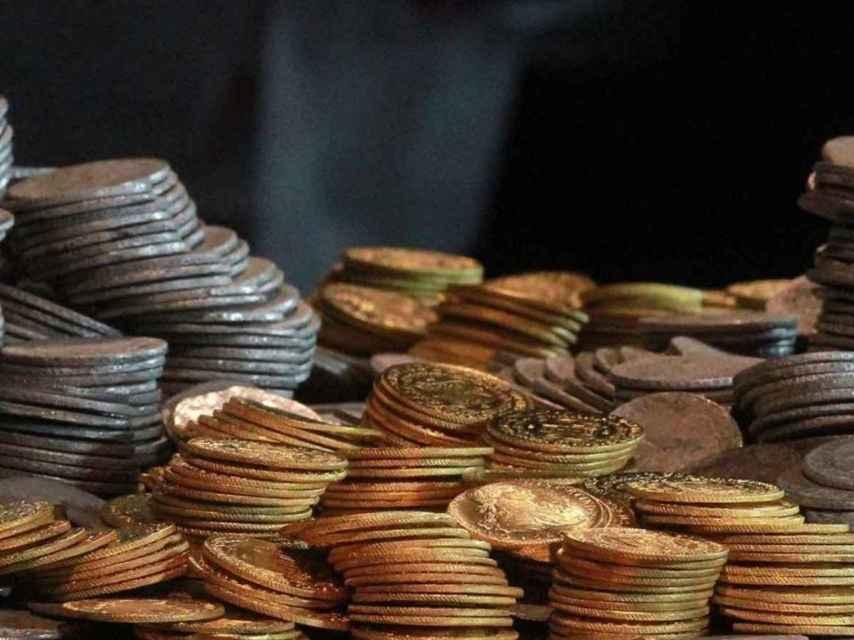 Parte de las 300.000 monedas recuperadas de la fragata Mercedes.