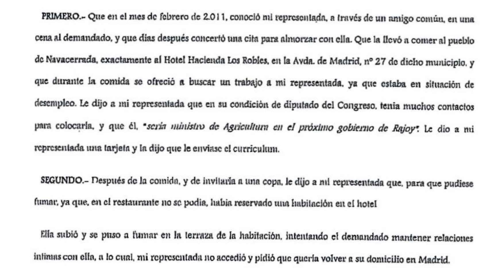 Extracto del acto de conciliación celebrado en marzo de 2013.