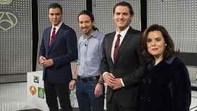 Sánchez, Iglesias, Rivera y Sáenz de Santamaría en 'El debate decisivo' (Atresmedia)