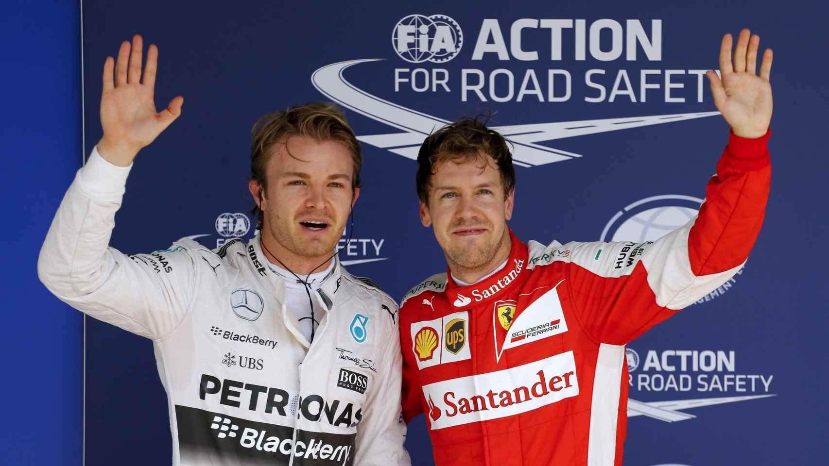 rosberg y Vettel durante el Gran Premio de