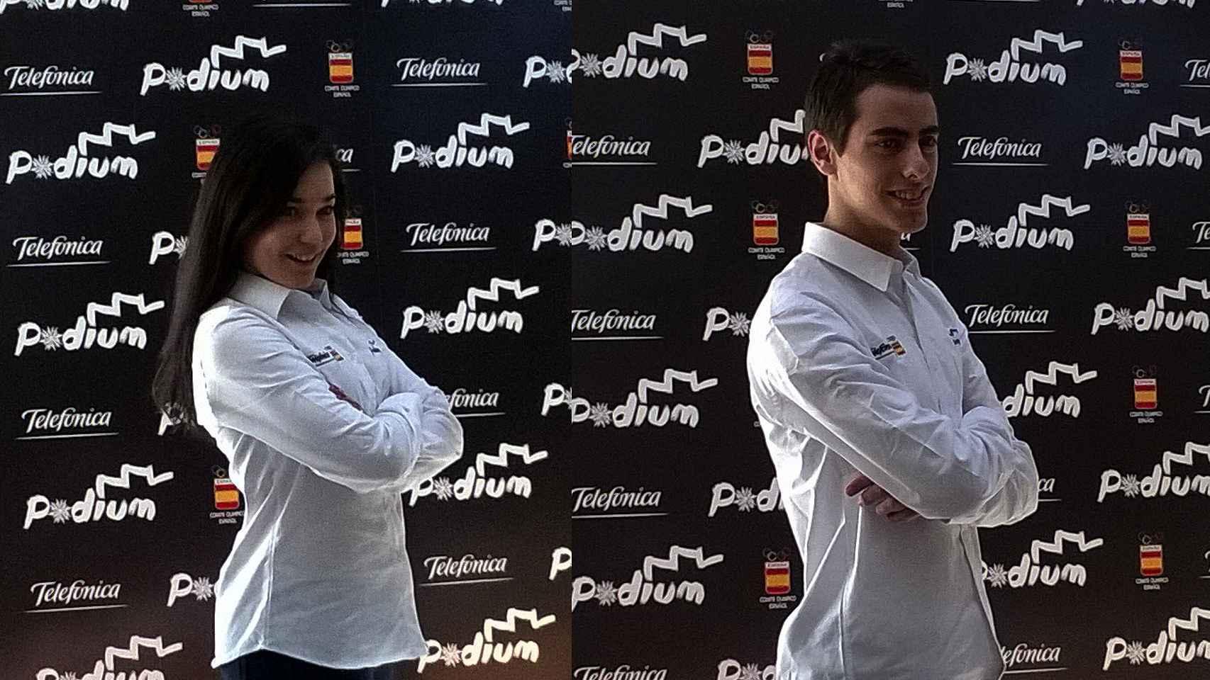 Celia Robledo y Luis Fenero, patinadores en danza sobre hielo, durante la presentación.