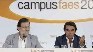 Mariano Rajoy y José María Aznar, en el Campus FAES 2015 en julio en Guadarrama