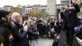 Monedero en un acto electoral en Pamplona esta semana