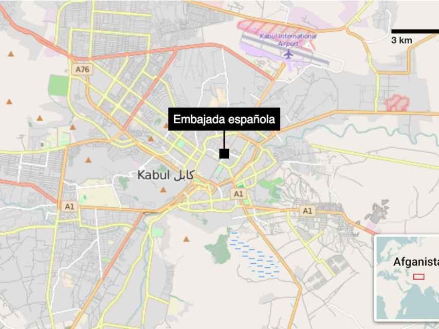 Mapa de la zona atacada.