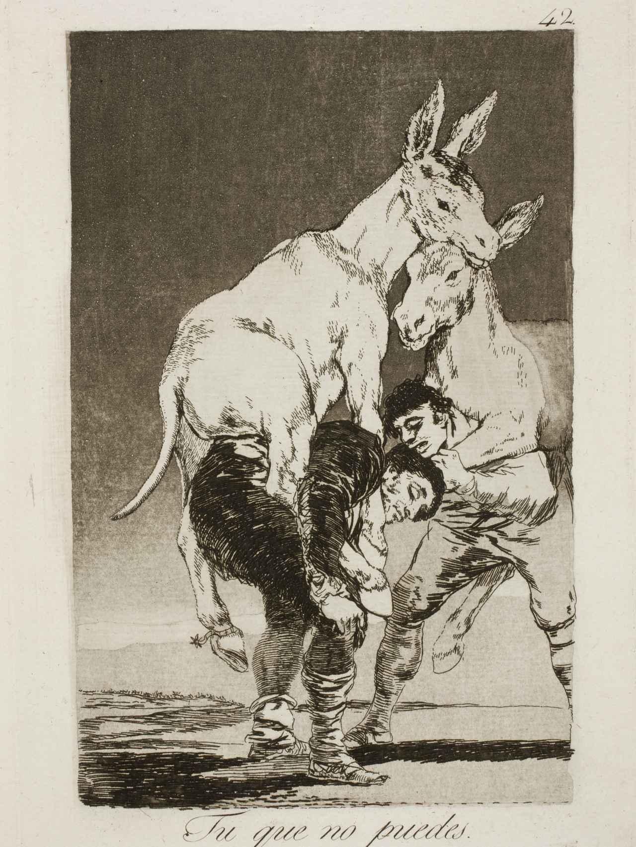 Caprichos de Goya: Tú que no puedes (Museo del Prado)