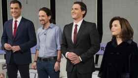 Pedro Sánchez, Pablo Iglesias, Albert Rivera y Soraya Sáenz de Santamaría (Atresmedia)