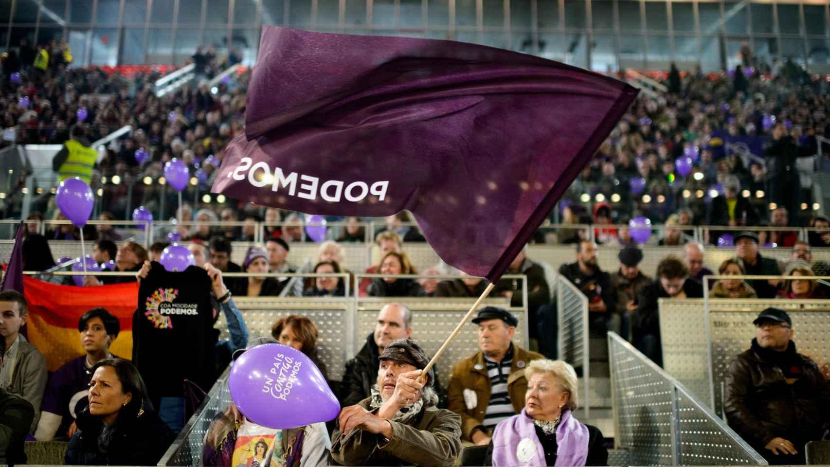 Simpatizantes de Podemos en la Caja Mágica