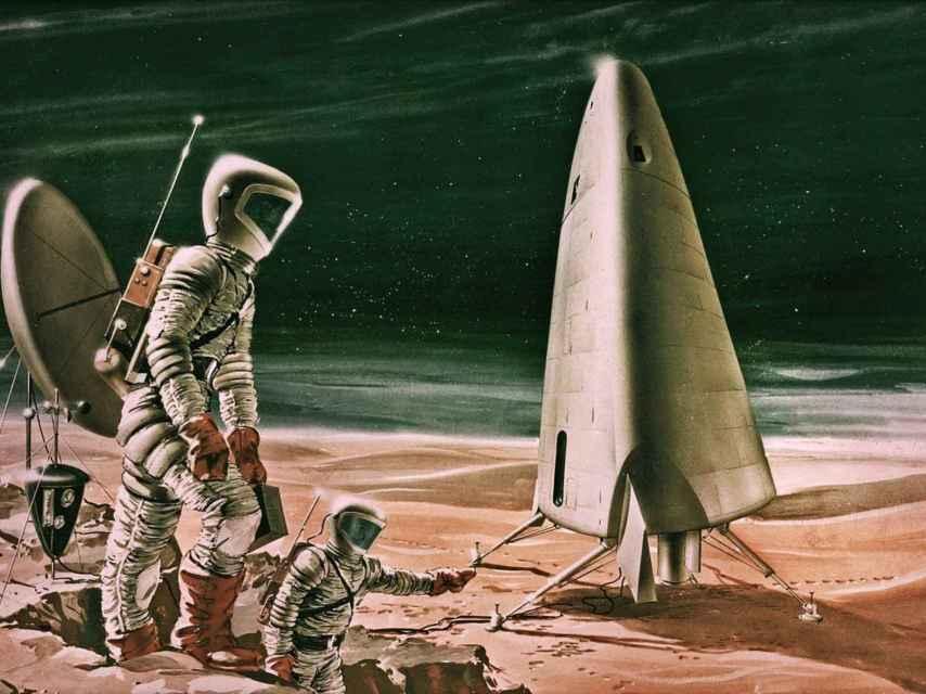 Recreación artística del Mars Excursion Module en 1963