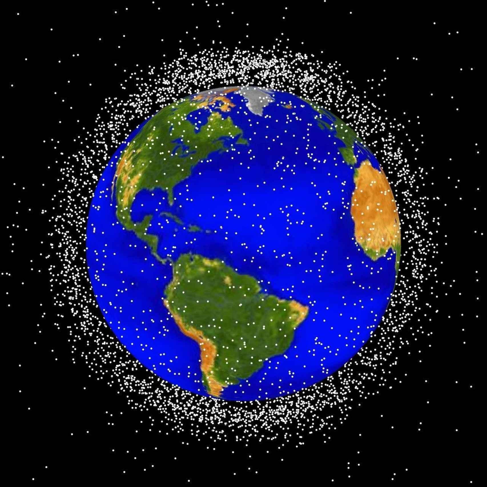 La chatarra espacial en órbita baja terrestre.