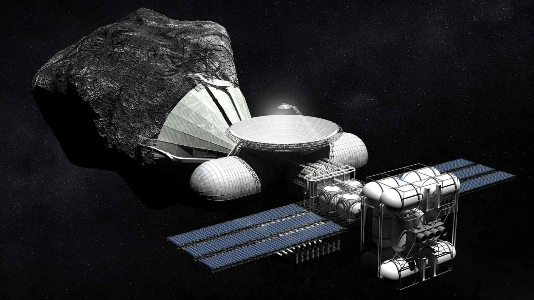 Recreación artística de minería asteroidal.