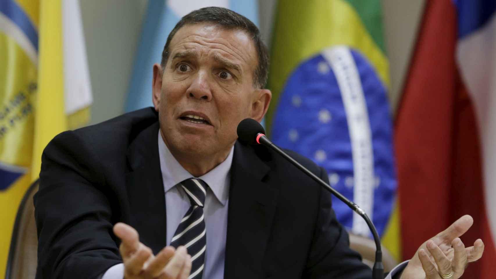 Juan Ángel Napout en una rueda de prensa.
