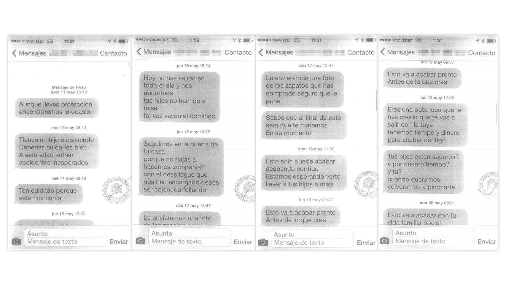 Mensajes amenazantes recibidos por la doctora Pinto.