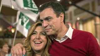 Susana Díaz y Pedro Sánchez, en el acto del PSOE en Málaga