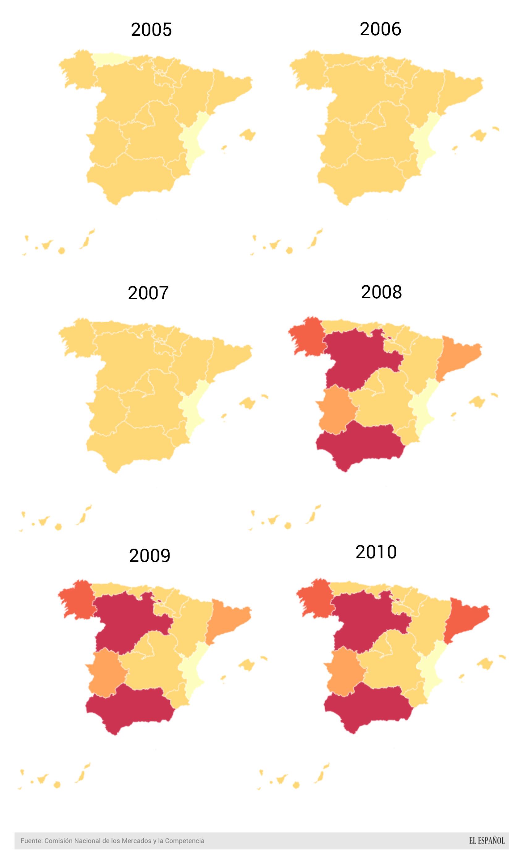 Evolución anual de la potencia instalada de energía fotovoltaica en España
