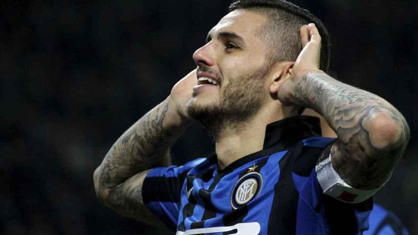 Mauro Icardi celebra su gol al Frosinone.